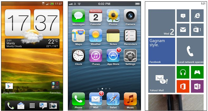 Android vs IOS vs Windows Phone 8 - 3 Homepage Comparison