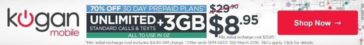 Kogan Mobile 70% Off 30 Day Prepaid Plans