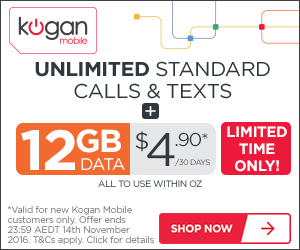 Kogan Mobile Special Offer, all prepaid plans at $4.90