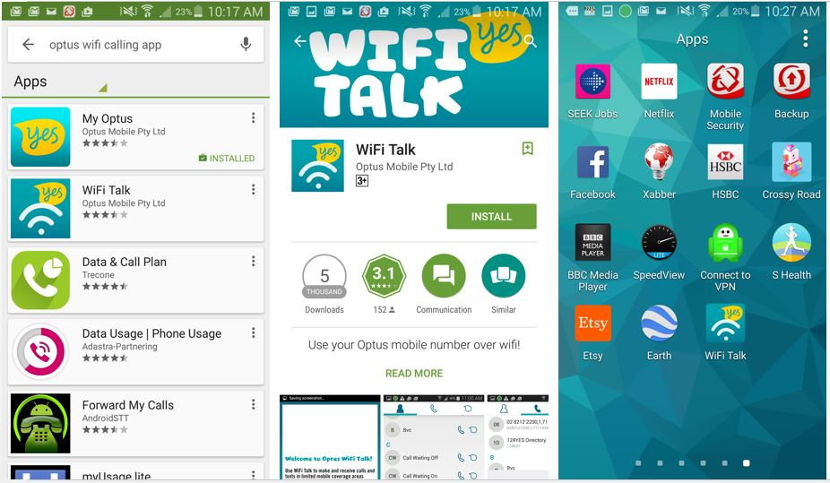 Optus has launched their own WiFi calling app