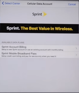 Sprint let you sign up for a new account or add a data plan to an existing broadband account. It's not hard to imagine the options here being 'prepaid' + 'postpaid' on an iPhone screen.