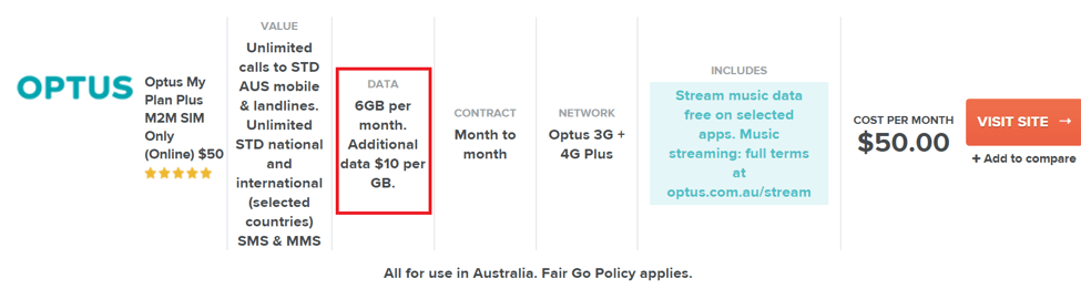 Any phone plan includes a charge for data. Here, as part of the users Minimum Monthly Spend of $50 per month, they are allocated 6GB of data. In the event that allocation is exceeded, the user is automatically charged $10 and given one more GB of data.